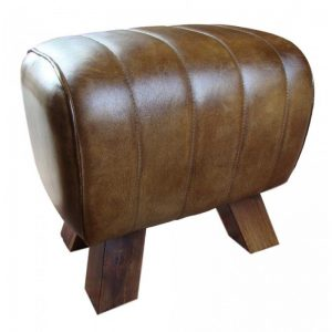 Brown Leather Stitched Pommel Horse Footstool