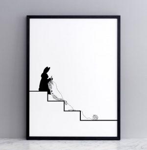 Framed Knitting Rabbit Print