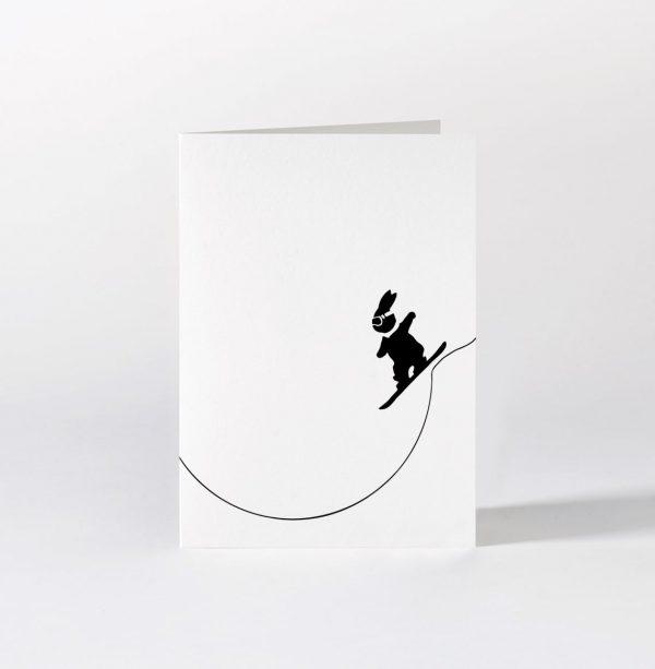 Snowboarding Rabbit Card