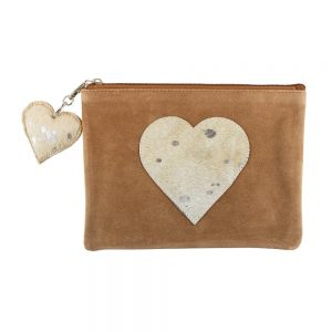 Brown Heart Hide Pouch