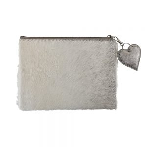 Cow Hide Grey Pouch