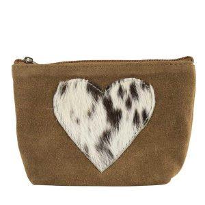 Hide Heart Make Up Bag Brown