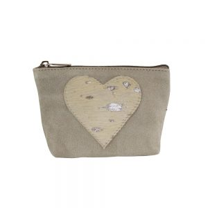 Appliqué Heart Make Up Bag Beige