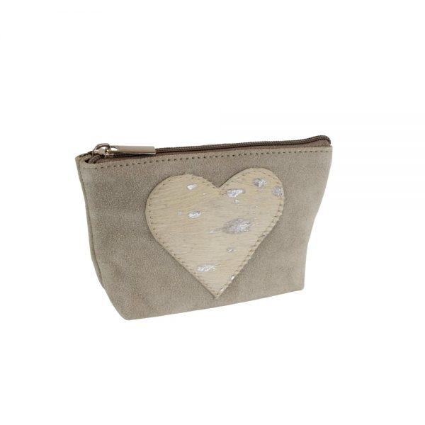 Appliqué Heart Make Up Bag Beige