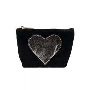 Appliqué Heart Makeup Bag Black