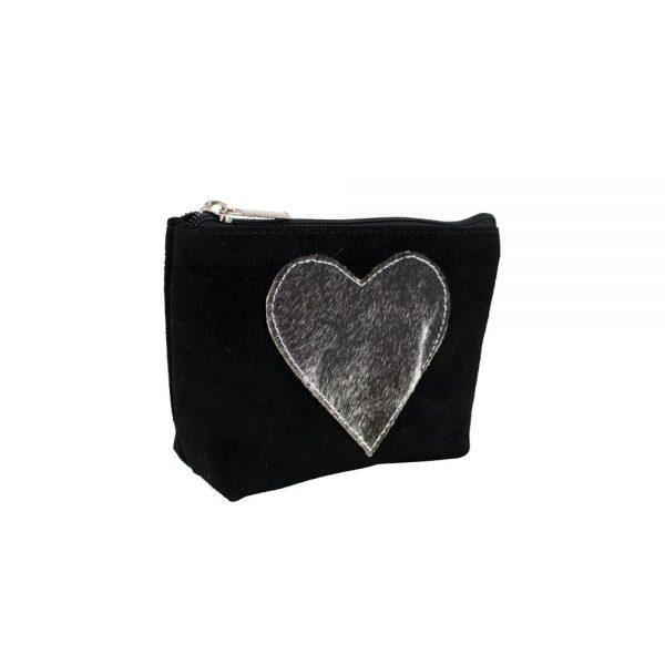 Appliqué Heart Makeup Bag Black