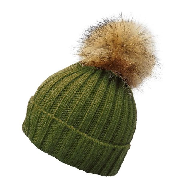 Khaki Classic Rib Hat with Natural Pom Pom
