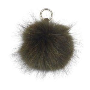 Khaki Fur Pom Pom Keyring