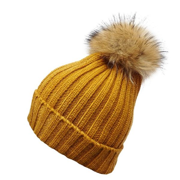 Mustard Classic Rib Hat with Natural Pom Pom