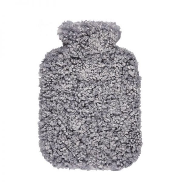 Grey Curly Short Wool Hot Water Bottle