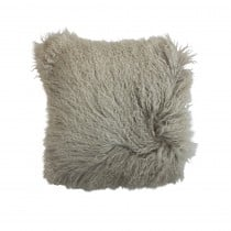 Mongolian Sheepskin Cushion Grey