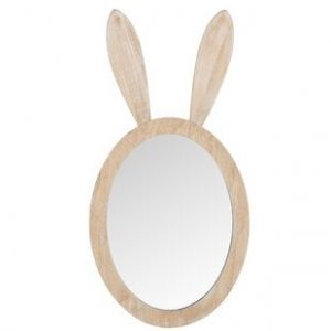 Rabbit Mirror in Natural Wood Frame
