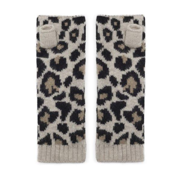 Wrist Warmer Cashmere Leopard in Black & Carmel