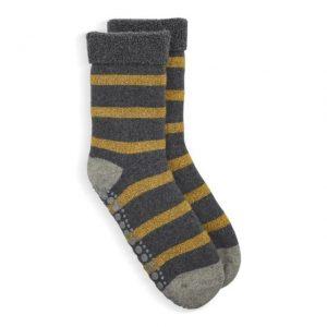 Slipper Socks Gold and Grey Glitter Stripe