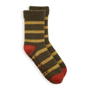 Slipper Socks with a Gold & Olive Glitter Stripe