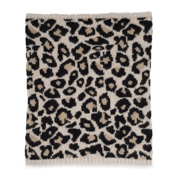 Cashmere Leopard Snood in Black and Carmel