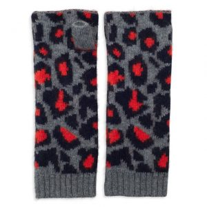 Wrist Warmers Cashmere Leopard in Grey, Navy & Orange