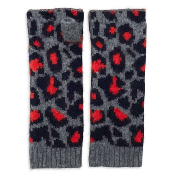Wrist Warmers Cashmere Leopard in Grey, Navy & Orange
