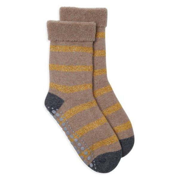 Slipper Socks with Camel & Gold Glitter Stripe
