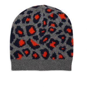 Beanie Cashmere Leopard Grey, Navy & Orange