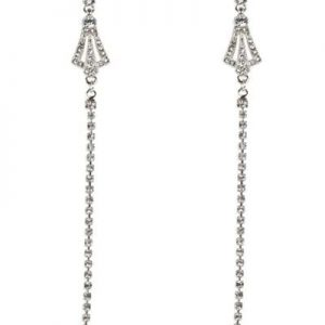 Belle & Flo Long Crystal Vintage Earrings Silver