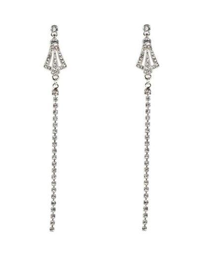 Belle & Flo Long Crystal Vintage Earrings Silver