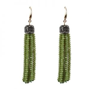 Belle & Flo Olive Crystal Top Beaded Tassel Earrings