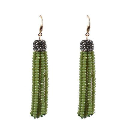 Belle & Flo Olive Crystal Top Beaded Tassel Earrings