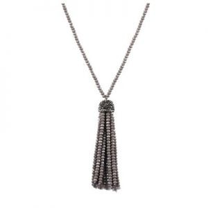 Belle & Flo Full Bead Tassel Necklace Grey
