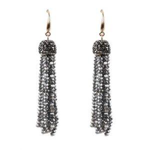 Belle & Flo Grey Crystal Top Beaded Tassel Earrings