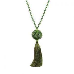 Belle & Flo Full Bead Tassel Ball Necklace Green