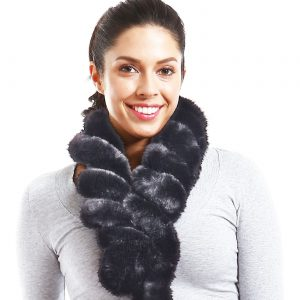 Belle & Flo Faux Fur Twisted Crochet Neck Scarf Grey