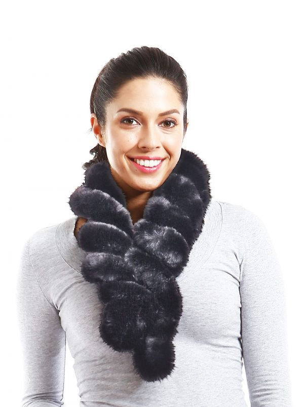 Belle & Flo Faux Fur Twisted Crochet Neck Scarf Grey