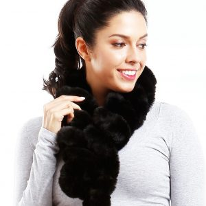 Belle & Flo Faux Fur Twisted Crochet Neck Scarf Black