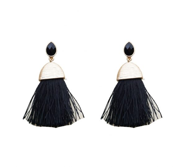 Belle & Flo Black Teardrop Stud Fan Tassel Earrings