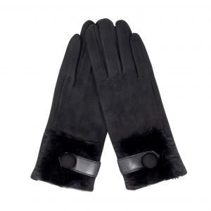 Belle & Flo Faux Fur Super Soft Gloves Black