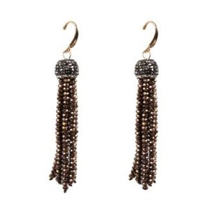 Belle & Flo Bronze Crystal Top Beaded Tassel Earrings