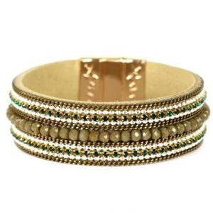 Belle & Flo Olive Beaded Magnetic Bar Bracelet