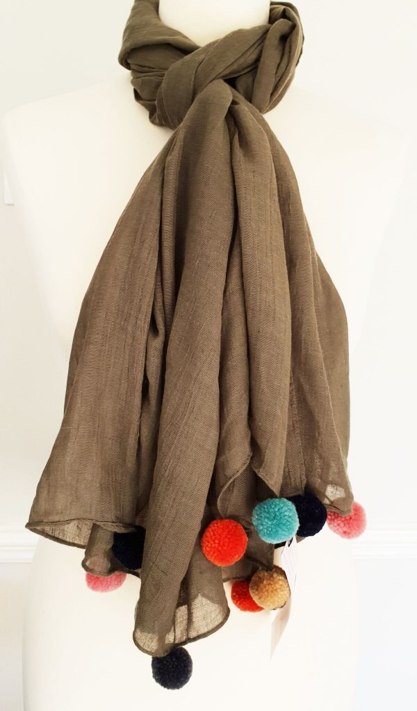 Belle & Flo Block Colour Multi Pom Pom Scarf Brown
