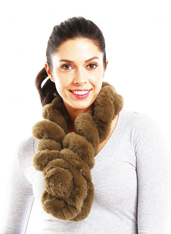 Belle & Flo Faux Fur Twisted Crochet Neck Scarf Olive