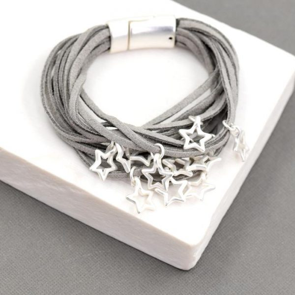 Grey Multi Strand Suede Bracelet with Star Charms