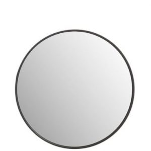 Dark Wood Small Round Mirror