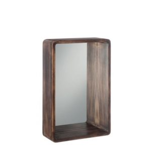 Dark Wood Small Rectangular Mirror