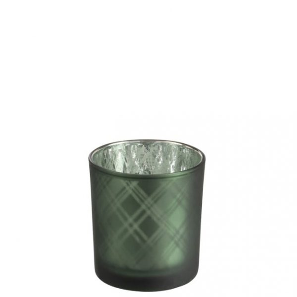 Small Green Check Glass Votive