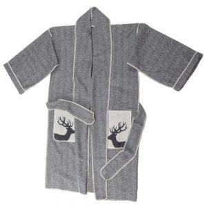 Herringbone Stag Kimono Dressing Gown