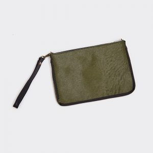 Olive Green Leather & Hide 2 Way Bag