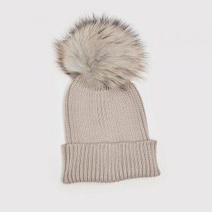 Hat with Pom Pom Silver Grey