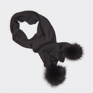 Black Wool Scarf with Two Pompons