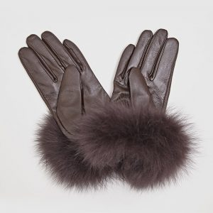 Fur Cuff Gloves Brown