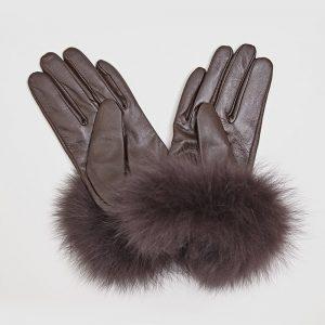 Fur Cuff Gloves Brown